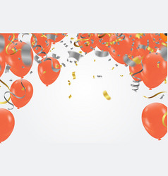 colorful happy birthday announcement with balloon vector image