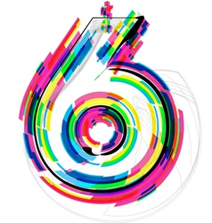 Colorful Number 6 vector image