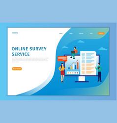 Concept online landing page survey vector