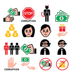 corruption no bribes and present icons vector image