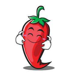 Cute smile red chili character cartoon vector