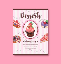 Dessert poster design with cupcake cheesecake vector