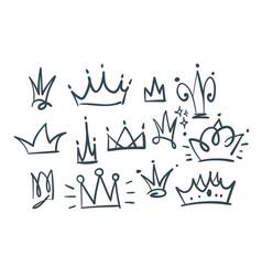 doodle set crowns vector image