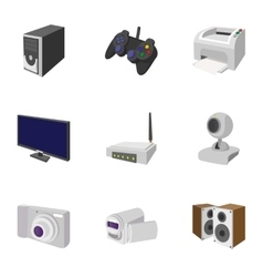 Electronic appliance icons set cartoon style vector