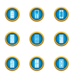 Entrance icons set flat style vector