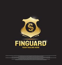 Financial guard logo design with dollar sign vector