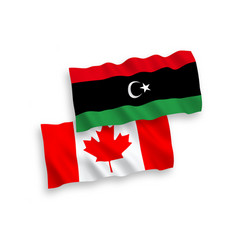 Flags canada and libya on a white background vector