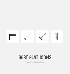 Flat icon garden set of barbecue harrow tool and vector