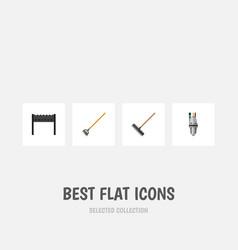 Flat icon garden set of barbecue harrow tool and vector