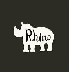 Flat icon of a rhino vector