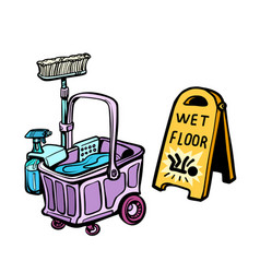 floor washing tools vector image