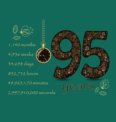 Floral card number ninety five and pocket watch vector
