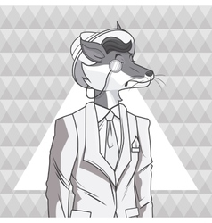 Fox animal hipster style triangule background vector