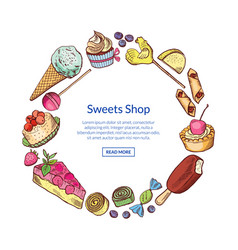 hand drawn sweets circle concept vector image