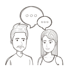 Hand drawn talking people design vector