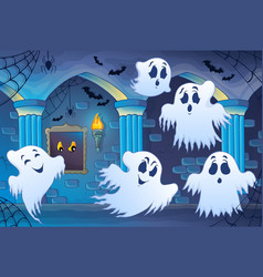 Haunted castle interior theme 4 vector