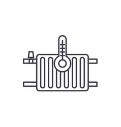 heating radiators line icon concept heating vector image