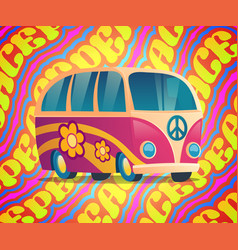 Hippie bus with peace and love label and flowers vector