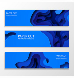 horizontal banners with 3d abstract blue vector image