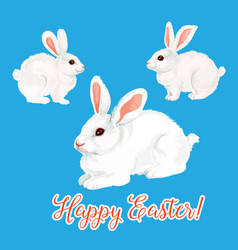 Icon of paschal bunny hare or easter rabbit vector