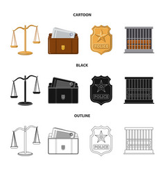 isolated object of law and lawyer icon set of law vector image