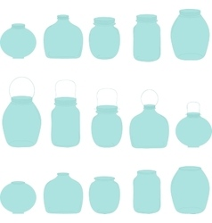 Jars set blue jars vector image