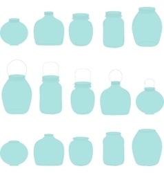 Jars set blue jars vector