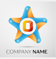 Letter o logo symbol in the colorful star on grey vector