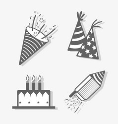 line set happy birthday celebration icon vector image
