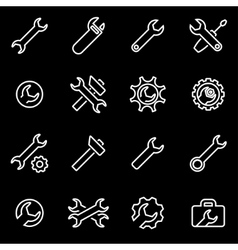 Line settings wrench icon set vector