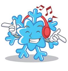 listening music snowflake character cartoon style vector image