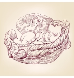 Little baby asleep in the wings of an angel hand vector