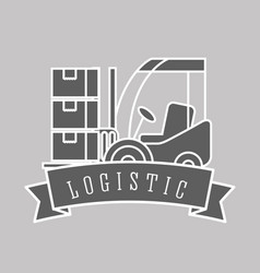 logistic forklift loading boxes cargo emblem style vector image
