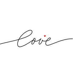 Love mono line calligraphy happy valentines day vector