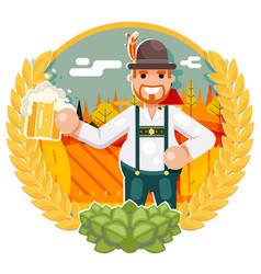 Man with beer mug oktoberfest poster festival vector
