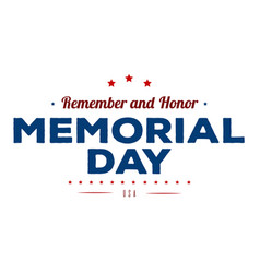 Memorial day typography design layout for usa vector