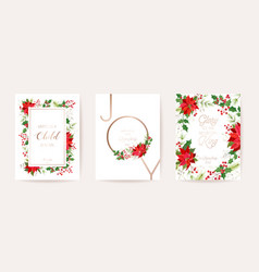 merry christmas happy new year 2021 cards floral vector image