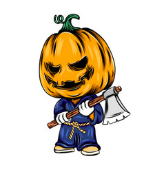monster pumpkin using karate costume vector image