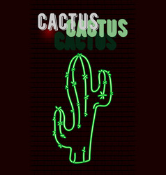 neon cactus sign on a brick wall vector image