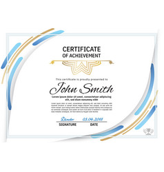 Official white certificate with blue design vector