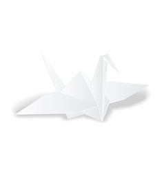 origami crane white paper bird isolated vector image