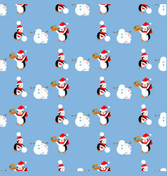 penguins build a snowman pattern vector image