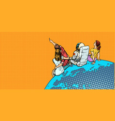 People and an astronaut sitting on planet earth vector