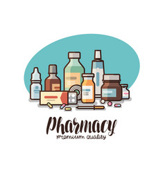 pharmacy drugstore label medical supplies vector image