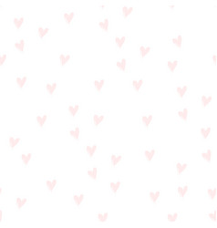 pink hearts on white hand drawn cute tender color vector image