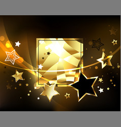 polygonal banner with golden stars vector image