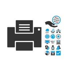 Printer Flat Icon With Bonus vector image