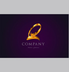 q gold golden alphabet letter logo icon design vector image
