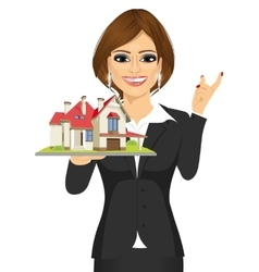Real estate agent holding a model house vector