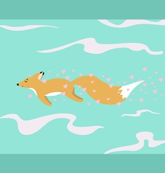 Red fox in love vector image